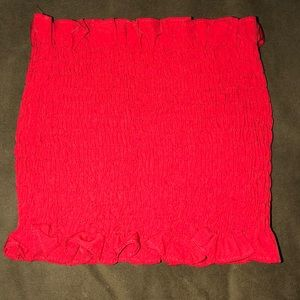 Red strapless crop top